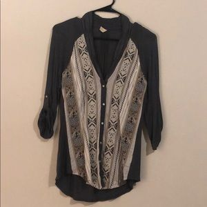 Light weight dark gray blouse with tribal details
